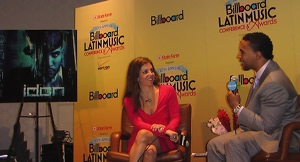 Interviewer Leila Cobo and Don Omar at this year's Latin Billboard conference