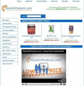TheLatinProducts.com homepage - click to enlarge
