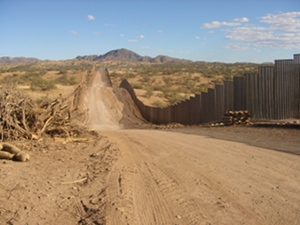 Border wall at Buenos Aires National Wildlife Refuge, Arizona